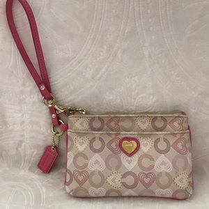 Coach pink purple tan and white wristlet NWOT